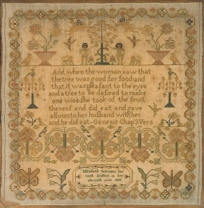 Elizabeth Summers 1808 Adam & Eve Sampler