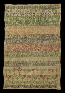 Sarah Bennett 1738 Marking sampler