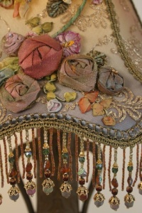 Victorian Ribbon embroidered lampshade